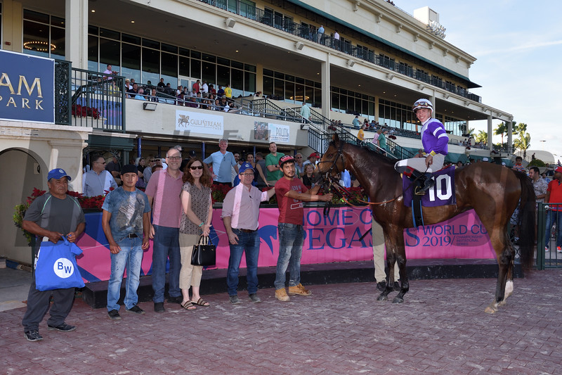 Tyler Gaffalione gets 1,000th win at Gulfstream Park Sunday, December 30, 2018. Photo: Coglianese Photos/Leslie Martin