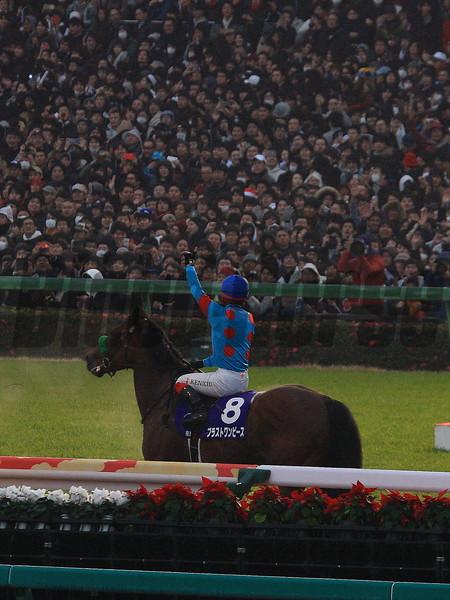 Blast Onepiece (JPN) wins the 2018 Arima Kinen at Nakayama Racecourse. Photo: Naoji Inada