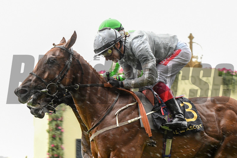Raffle Prize and Frankie Dettori win the G2 Queen Mary Stakes, 6-19-20, Royal Ascot, Ascot, UK, photo by Mathea Kelley/Bloodhorse