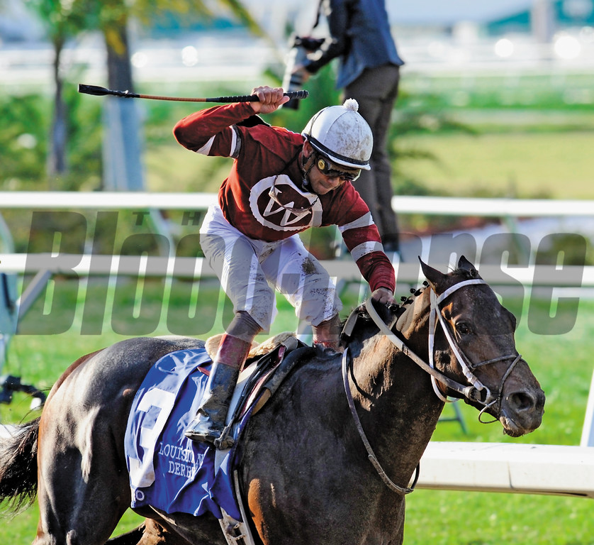 PHOTO BY SKIP DICKSTEIN - Jockey Shaun Bridgmohan rides PYRO to the win in the 95th running of the Louisiana Derby at the famed Fair Grounds Race Course in New Orleans, Louisiana March 8, 2008.