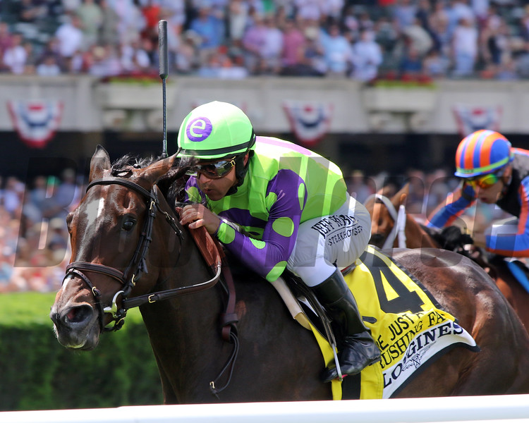 Rushing Fall with Javier Castellano win the 26th Running of The Just A Game (GI) at Belmont Park on June 9, 2019. Photo By: Chad B. Harmon