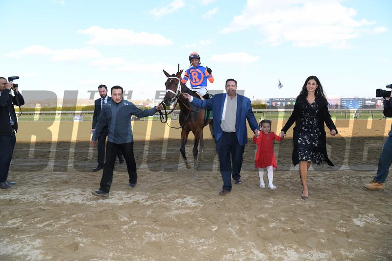Always Shopping wins the Gazelle Stakes at Aqueduct Saturaday, April 6, 2019. Photo: Coglianese Photos