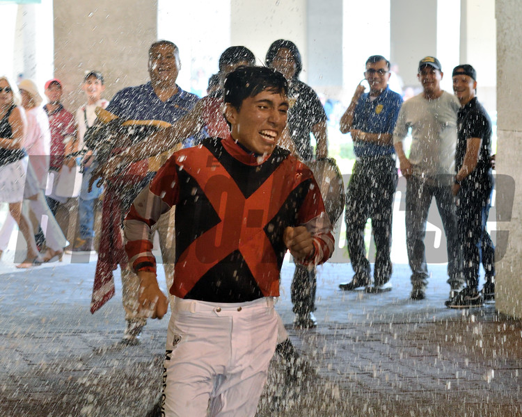 Miguel Arroyo earns first career win aboard Stay Again in a maiden claiming race July 27, 2019 at Gulfstream Park. Photo: Coglianese Photos/Ryan Thompson