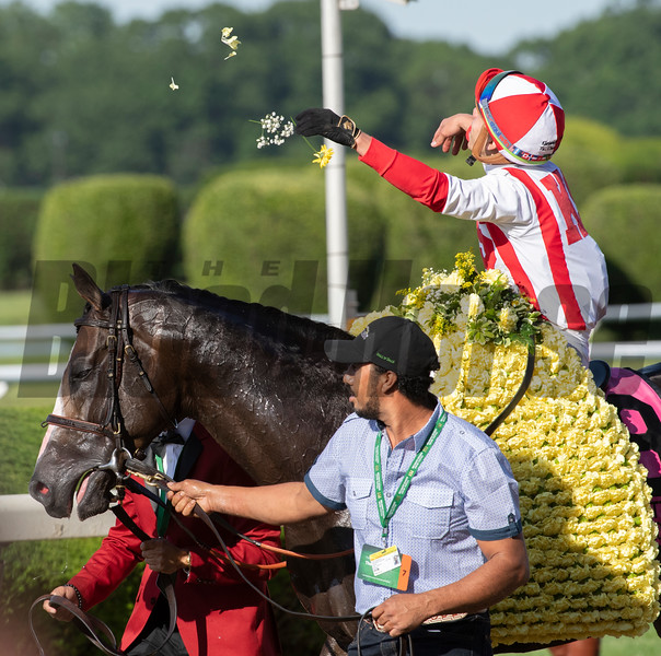Bricks and Mortar with jockey Irad Ortiz Jr.wins the 111th running of The Manhattan Saturday June 8, 2019 at Belmont Park in Elmont, N.Y.   Photo by Skip Dickstein