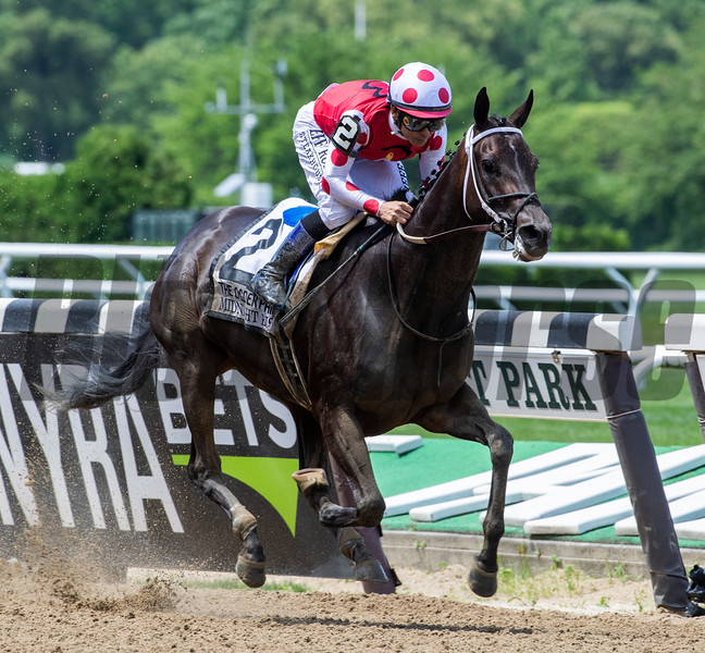 Midnight Bisou with jockey Mike Smith wins the 51st running of The Ogden Phipps at Belmont Park June8, 2019 in Elmont, N.Y.  Photo by Skip Dickstein
