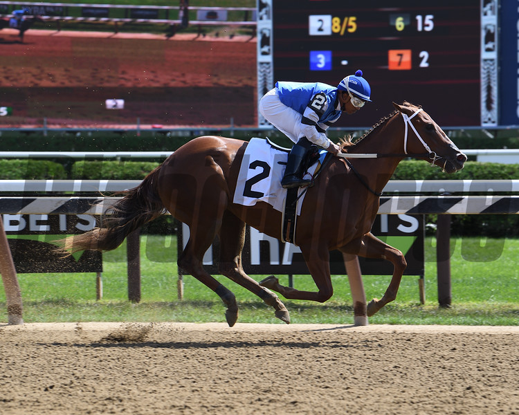 Wicked Whisper breaks her maiden Sunday, August 25, 2019 at Saratoga. Photo: Coglianese Photos
