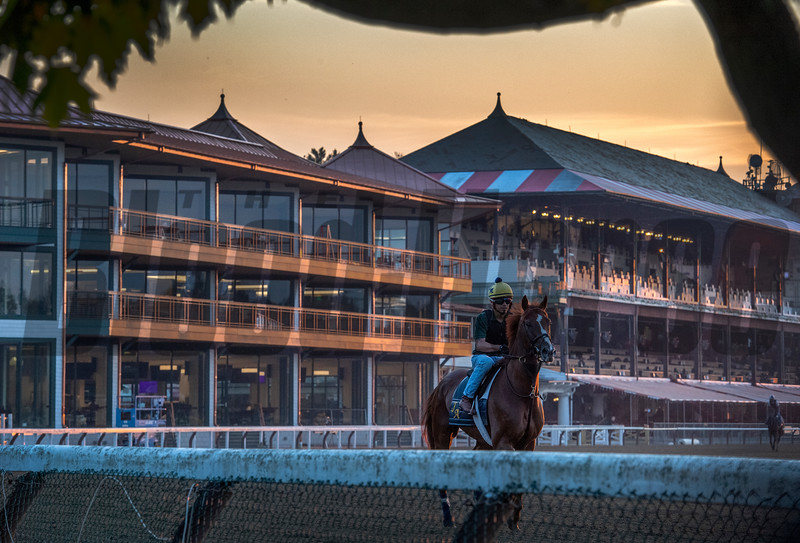 Early morning exercise and the new 1863 Club in the background of the Saratoga Race Course July 4, 2019 in Saratoga Springs, N.Y. one week before opening day on July 11th.   Photo by Skip Dickstein
