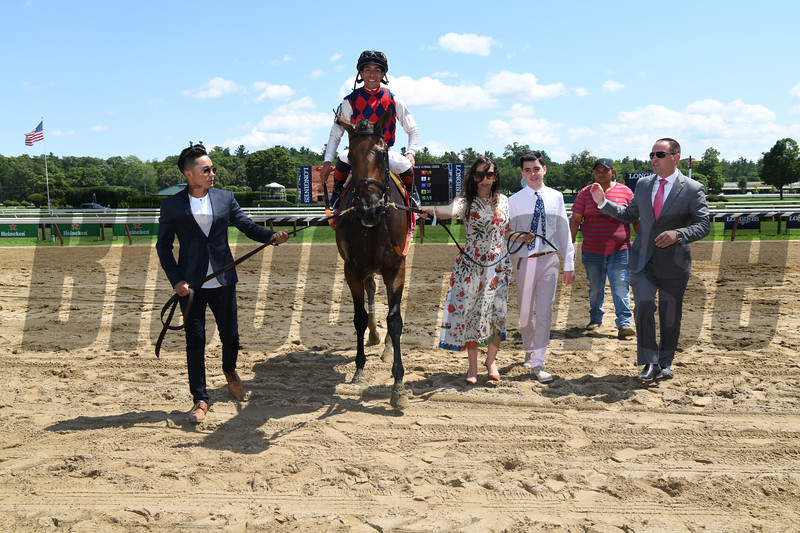 Guarana wins the Coaching Club American Oaks Sunday, July 21, 2019 at Saratoga. Photo: Coglianese Photos