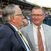 Trainer Jimmy Jerkens and managing partner of Centennial Farms Don Little Jr. show their pleasure after Preservationist ridden by Junior Alvarado holds off the competition to win the 66th running of The Woodward at the Saratoga Race Course Saturday August 31, 2019 in Saratoga Springs, N.Y.  Photo by Skip Dickstein