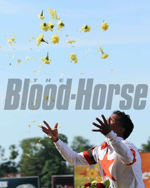 Ricardo Santana Jr. celebrates after winning the 126th Running of the Metropolitan (GI) at Belmont Park on June 8, 2019 aboard Mitole. Photo By: Chad B. Harmon