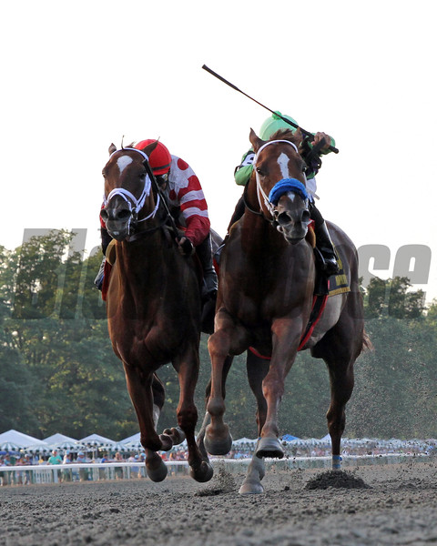 War Story with Luis Saez win the 41st Running of The Monmouth Cup (GIII) at Monmouth Park on July 20, 2019 over Bal Harbour with Mike Smith. Photo By: Chad B. Harmon