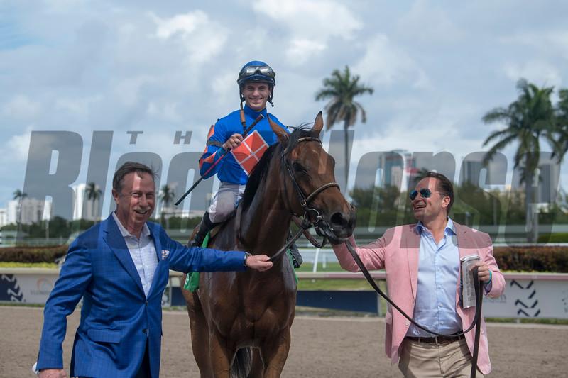 Champagne Anyone. with Chris Landeros wins The Gulfstream Park Oaks .  @ Gulfstream Park.  March 30 2019<br /> ©JoeDiOrio/Winningimages.biz