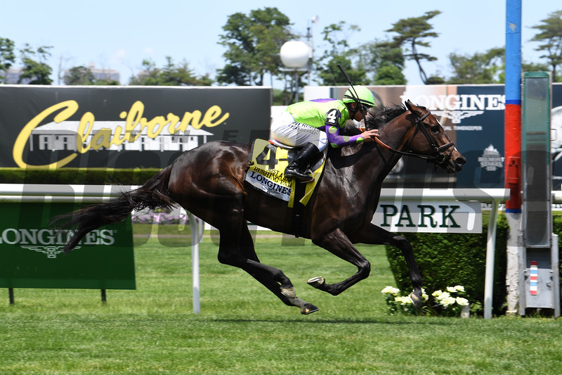 Rushing Fall wins the 2019 Just a Game Stakes at Belmont Park<br /> Coglianese Photos/Susie Raisher