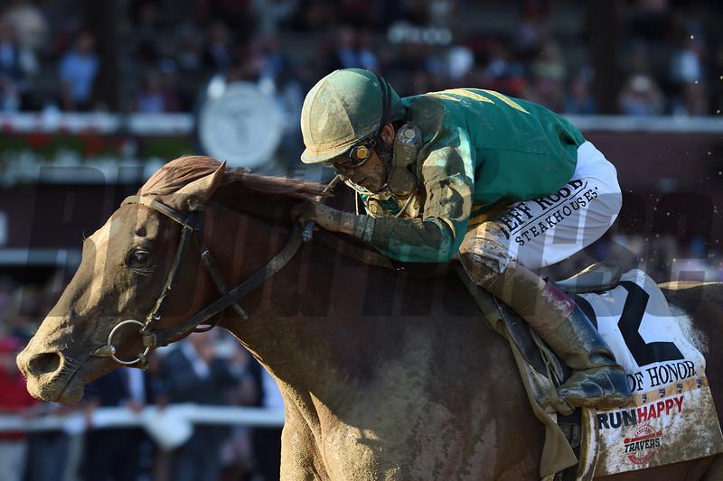 Code of Honor wins the 2019 Travers Stakes at Saratoga. Photo: Coglianese Photos/Adam Mooshian