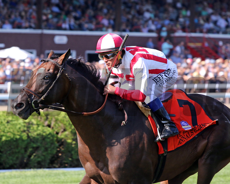 Anals of Time with Javier Castellano win the 45th Running of The Sword Dancer (GI) at Saratoga on August 24, 2019. Photo By: Chad B. Harmon