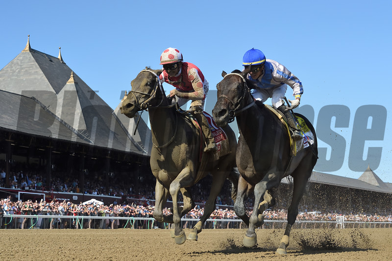 Midnight Bisou wins the 2019 Personal Ensign Stakes at Saratoga. Photo: Coglianese Photos