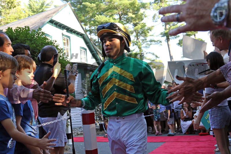 Luis Saez - Jockey Introductions prior to the 150th Running of the Travers (GI) at Saratoga on August 24, 2019. Photo By: Chad B. Harmon