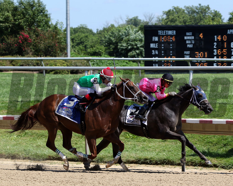 Bronx Beauty with Jose Ortiz (Pink Silks) win the Dashing Beauty Stakes at Delaware Park over Ms Locust Point with Jorge Vargas (Green Silks) at Delaware Park on July 13, 2019. Photo By: Chad B. Harmon