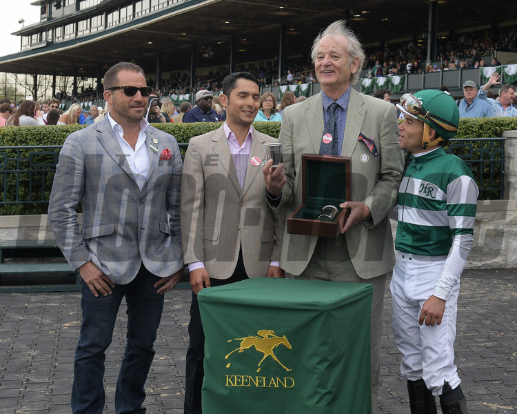 l-r, David Ingordo, ??, Bill Murray, Joel Rosario. Ginger Nut with Joel Rosario wins the Limestone Turf Sprint at Keeneland on April 18, 2017 in Lexington,  Ky.