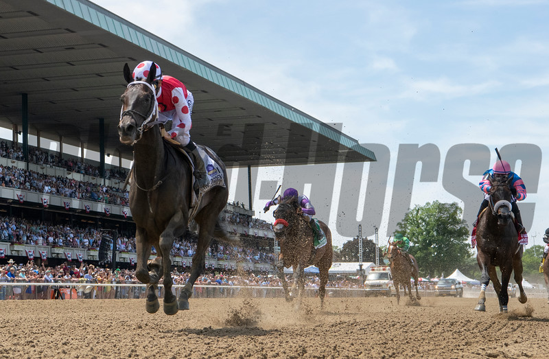 Midnight Bisou with jockey Mike Smith wins the 51st running of The Ogden Phipps at Belmont Park June8, 2019 in Elmont, N.Y.  Photo by Skip Dickstein/Tim Lanahan