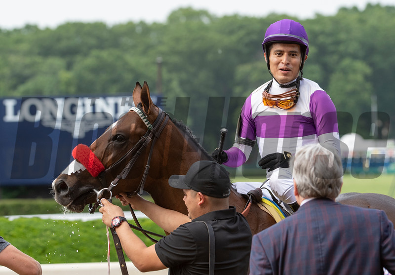 Fore Left is the runaway winner of 122nd running of The Tremont with jockey Mario Gutierrez at Belmont Park in Elmont, N.Y. June 7, 2019.  Photo by Skip Dickstein