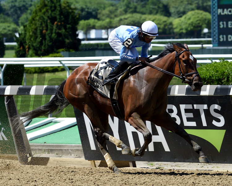 Newly Minted wins the Bouwerie Stakes Monday, May 27, 2019 at Belmont Park. Photo: Coglianese Photos