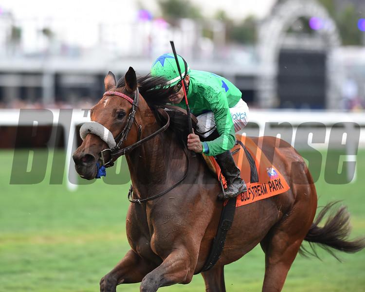 Si Que Es Buena wins the 2019 La Prevoyante Stakes at Gulfstream Park<br /> Coglianese Photos/Adam Mooshian
