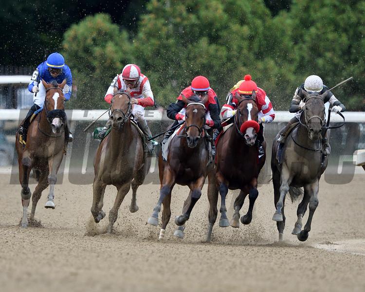 Perfect Alibi wins the 2019 Spinaway Stakes at Saratoga. Photo: Coglianese Photos/Derbe Glass