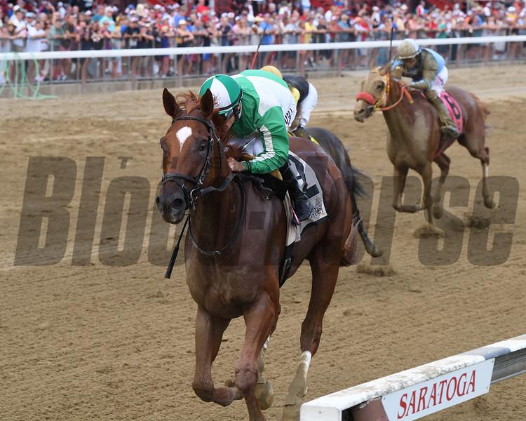 Mr. Buff wins the 2019 Evan Shipman Stakes at Saratoga. Photo: Coglianese Photos/Chelsea Durand
