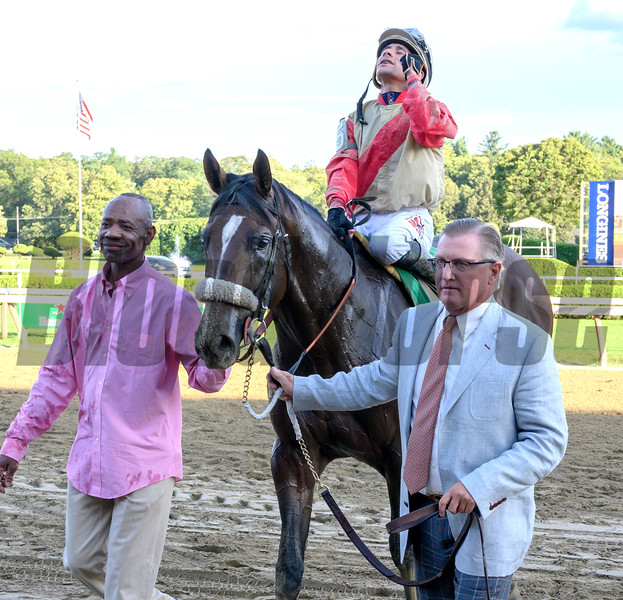 Don Little Jr., Managing Partner of Centennial Farms leads Preservationist ridden by Junior Alvarado after winning  the 66th running of The Woodward at the Saratoga Race Course Saturday August 31, 2019 in Saratoga Springs, N.Y.  Photo by Skip Dickstein