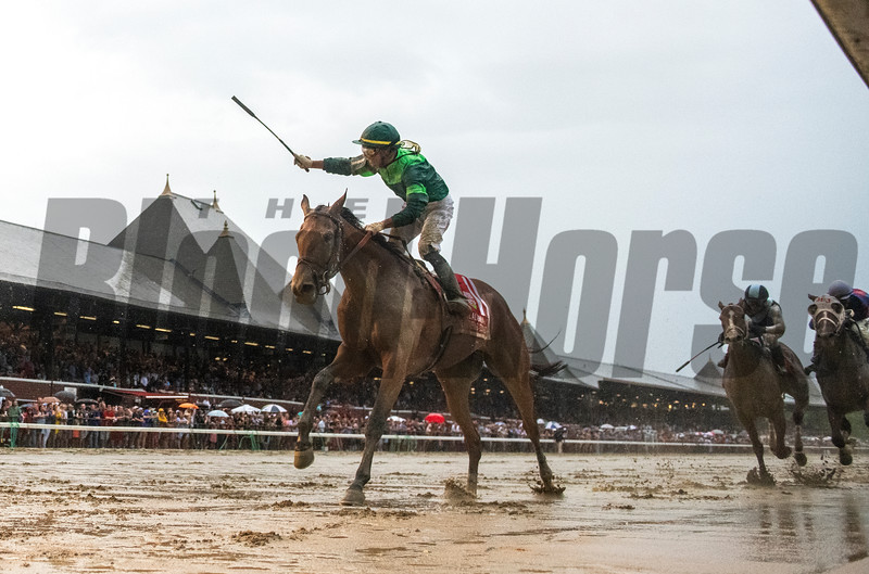 Dunbar Road with jockey Jose Ortiz reacts to winning the 139th running of The Alabama the Saratoga Race Course Saturday Aug. 17, 2019  in Saratoga Springs, N.Y.  This was Ortiz's third win in The Alabama.  Photo  by Skip Dickstein/Tim Lanahan