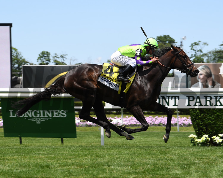 Rushing Fall wins the 2019 Longines Just a Game Stakes at Belmont Park<br /> Coglianese Photos/Viola Jasko