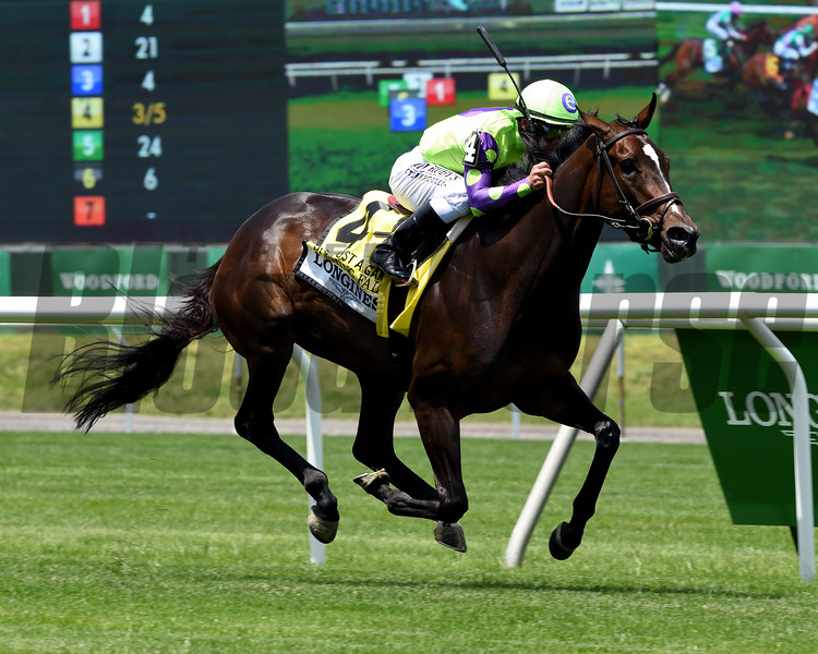 Rushing Fall wins the 2019 Longines Just a Game Stakes at Belmont Park<br /> Coglianese Photos/Janet Garaguso