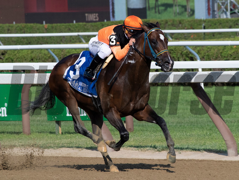 Imperial Hint with jockey Javier Castellano wins the 35th running of the Vanderbilt Saturday July 27, 2019at the Saratoga Race Course in Saratoga Springs, N.Y. Photo: Skip Dickstein