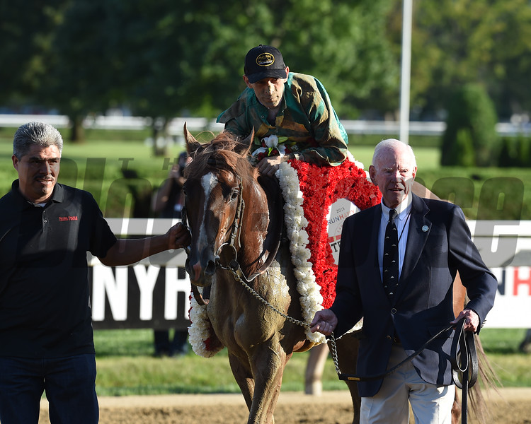 Code of Honor wins the 2019 Travers Stakes at Saratoga. Photo: Coglianese Photos