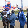 Owner Michael Rapole congratulates jockey Manuel Franco after winning the 124th running of The Gazelle on Always Shopping at Aqueduct Race Track Saturday April 6, 2019 in Ozone Park, N.Y.