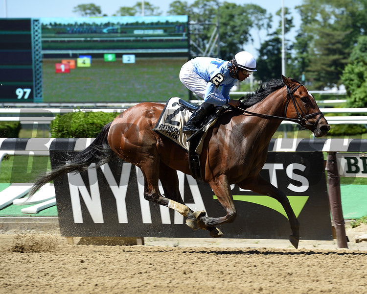 Newly Minted wins the Bouwerie Stakes Monday, May 27, 2019 at Belmont Park. Photo: Coglianese Photos/Elsa Lorieul
