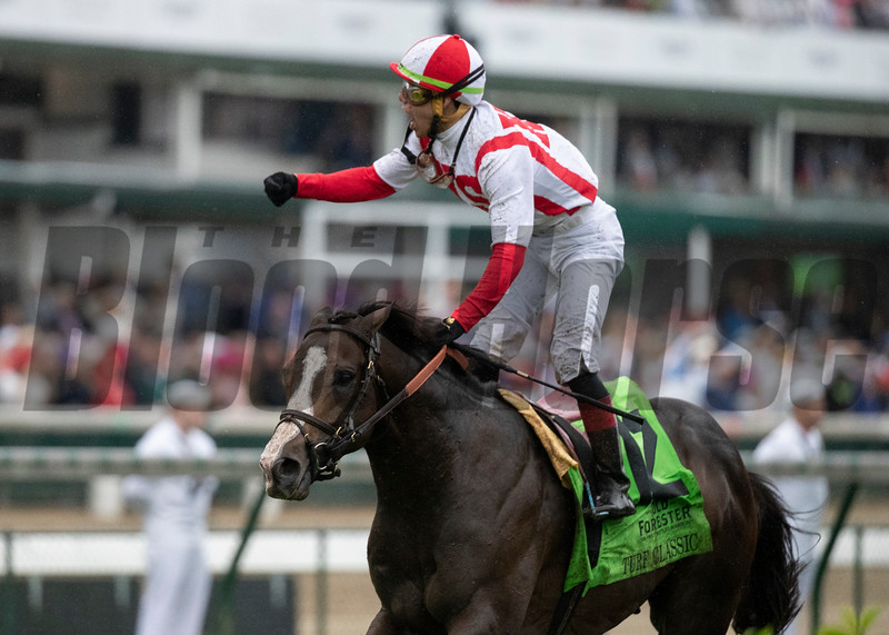 Bricks and Mortar and Irad Ortiz, Jr. winning the Old Forester Turf Classic at Churchill Downs on May 4th, 2019.