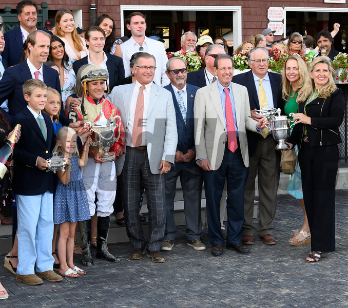 The winner's circle presentation after Preservationist ridden by Junior Alvarado holds off the competition to win the 66th running of The Woodward at the Saratoga Race Course Saturday August 31, 2019 in Saratoga Springs, N.Y.  Photo by Skip Dickstein
