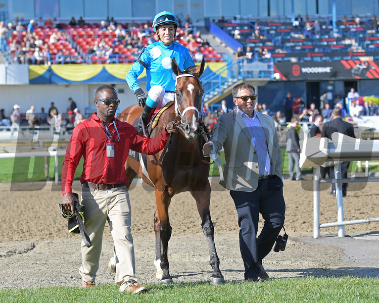 Trainer Kevin Attard on right. Starship Jubilee wins Canadian (G2)<br /> at Woodbine.