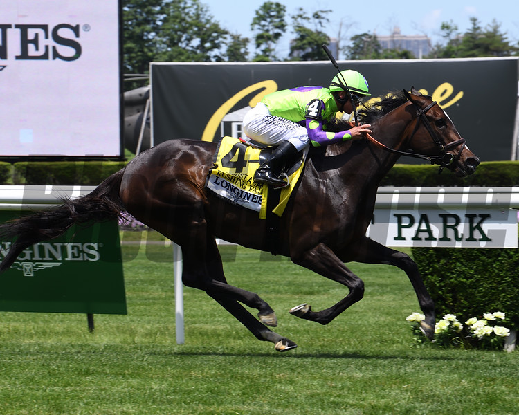 Rushing Fall wins the 2019 Longines Just a Game Stakes at Belmont Park<br /> Coglianese Photos