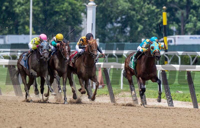 Majid with jockey Luis Saez tip wins the 9th running of The Easy Goer Saturday June 8, 2019 at Belmont Park in Elmont, N.Y.  Photo by Skip Dickstein