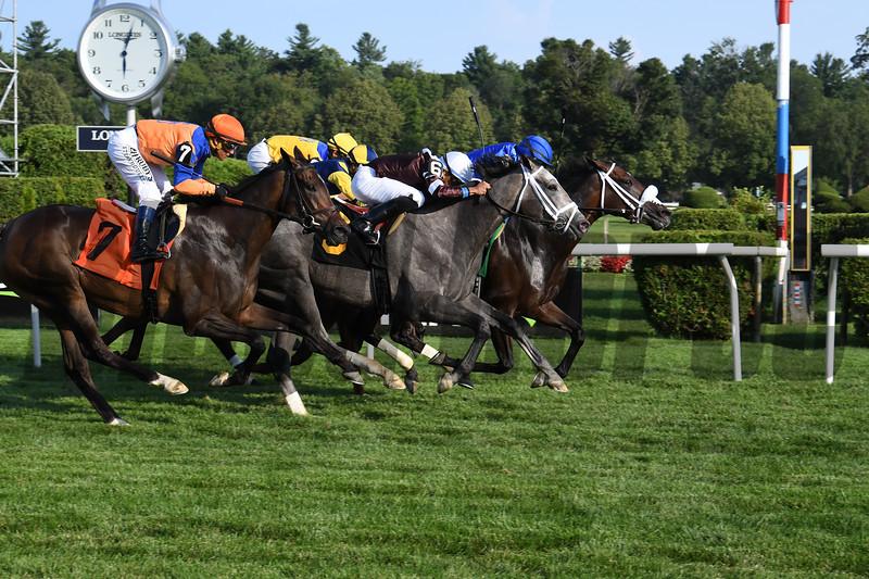 Romantic Pursuit wins an allowance optional claiming race Sunday, July 28, 2019 at Saratoga. Photo: Coglianese Photos