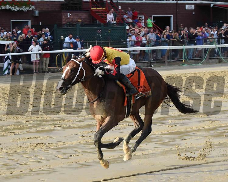 Basin wins the 2019 Hopeful Stakes at Saratoga. Photo: Coglianese Photos/Chelsea Durand