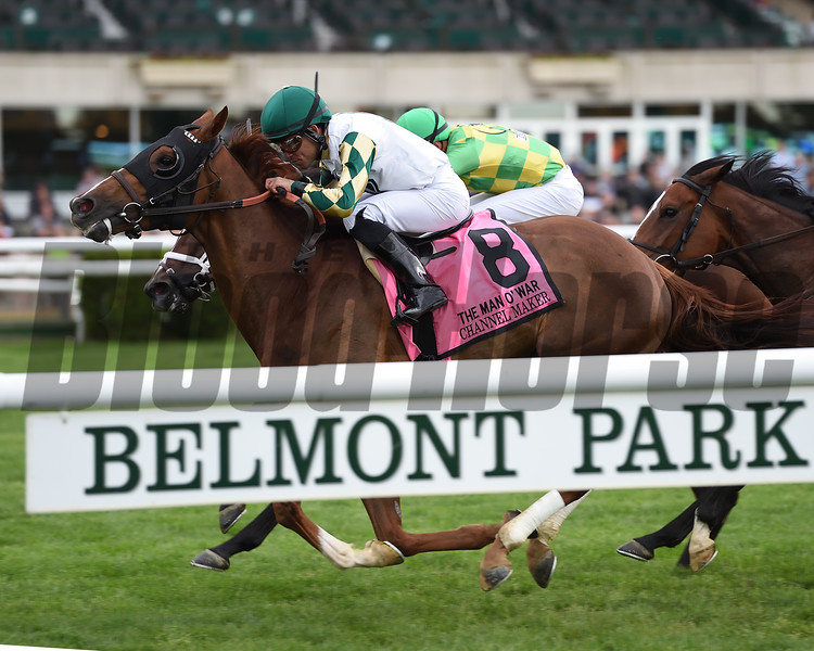 Channel Maker wins the Man o' War Stakes Saturday, May 11, 2019 at Belmont Park. Photo: Coglianese Photos/Elsa Loriuel