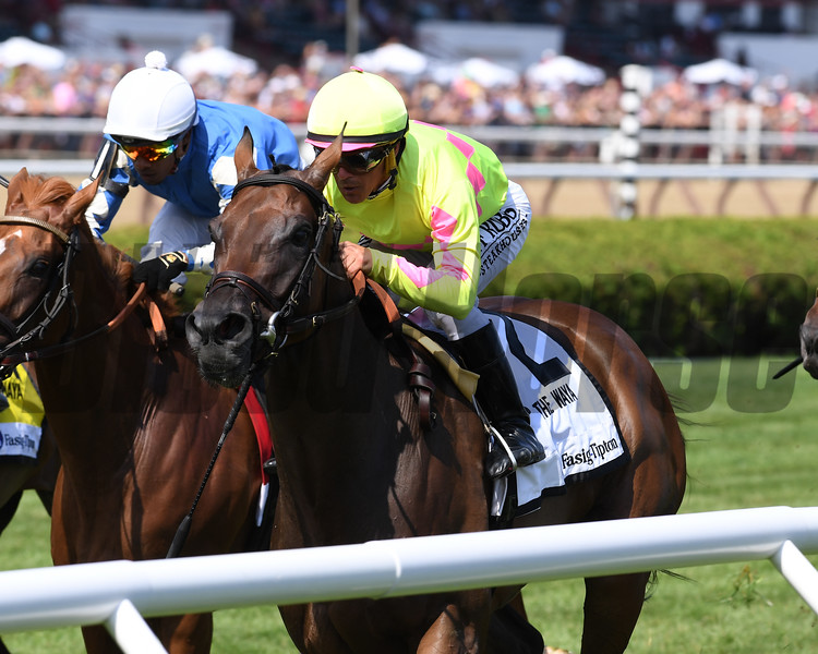 Fools Gold wins the 2019 Waya Stakes at Saratoga. Photo: Coglianese Photos/Chelsea Durand