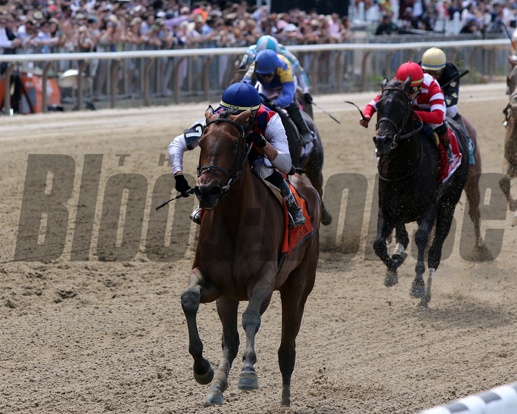 Guarana with Jose Ortiz win the 89th Running of the Acorn (GI) at Belmont Park on June 8, 2019. Photo By: Chad B. Harmon