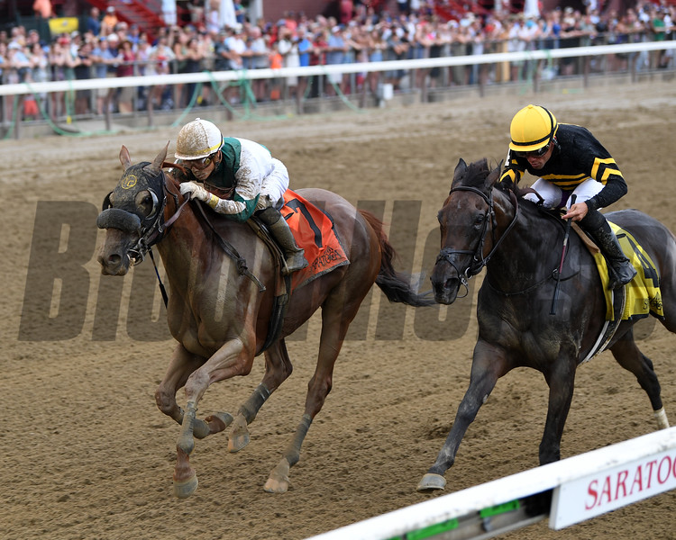 Blue Prize wins the 2019 Summer Colony Stakes at Saratoga. Photo: Coglianese Photos/Chelsea Durand