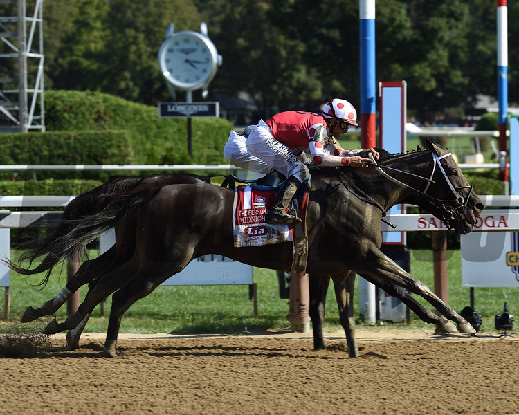 Midnight Bisou wins the 2019 Personal Ensign Stakes at Saratoga<br /> Coglianese Photos/Chris Rahayel