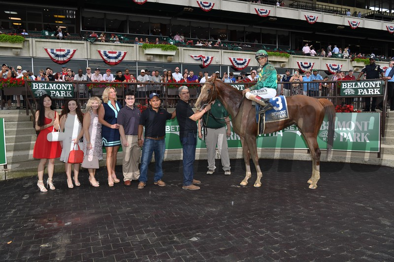 Code of Honor wins the Dwyer Stakes Saturday, July 6, 2019 at Belmont Park. Photo: Coglianese Photos